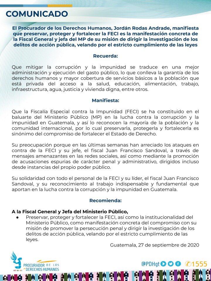 test Twitter Media - El PDH, Jordán Rodas, se pronuncia respecto a la FECI y emite una recomendación a la Fiscal General, para preservar y fortalecer ese fiscalía. https://t.co/ZZzoMyLP17