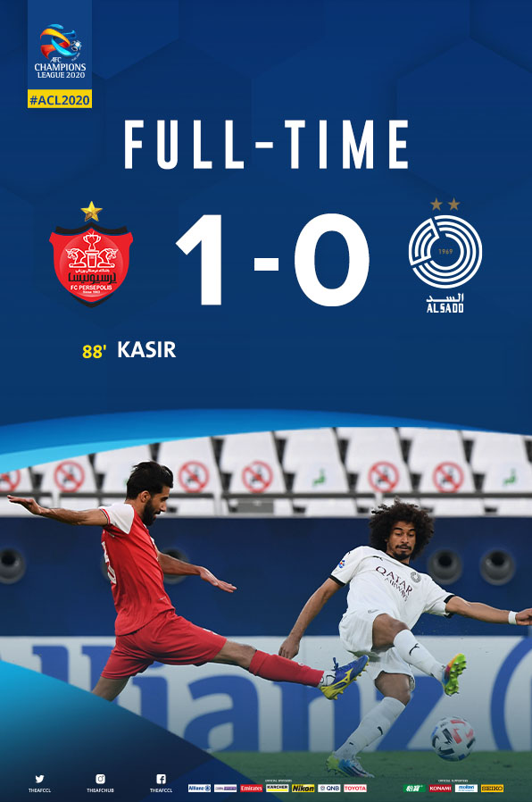 FT | 🇮🇷 Persepolis 1 - 0 Al Sadd 🇶🇦  Persepolis are officially through to quarter-finals with Kasir's terrific header 💪⚽  #PERvSDD | #ACL2020 https://t.co/qxOJ0aPGEA