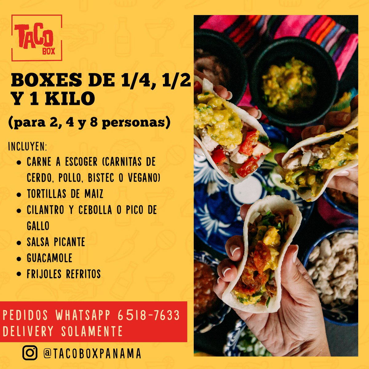 Aún puedes hacer tu pedido para HOY al whatsapp https://t.co/2BVWONouhx o en el siguiente link https://t.co/lgX4L0F6KN  Síguenos por Instagram  https://t.co/WlZ2WoFADc  #ConsumeLocal #panama #tacos #guacamole https://t.co/pFolJzlpng