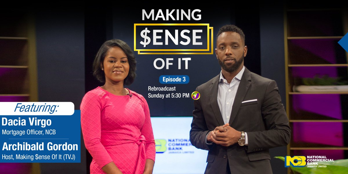 In episode 3 of Making $ense of It, NCB #Mortgage Officer, Dacia Virgo, discusses with businesswoman Trecia Peart, about how to get her homeownership goals #backontrack despite the #pandemic.   Watch the rebroadcast on Sun. 27th Sept. @ 5:30 pm on TVJ. #covid19 #finances https://t.co/U7x1d3viHF