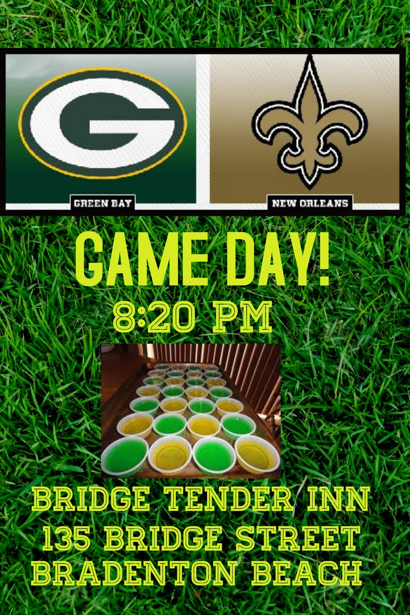 Tonight it's the Packers vs. the Saints at 8:20! The Tender is the place to be when the Packers play!  Free Jell-O shots when our Packers score!  GO PACK GO! 💛💚💛💚 #bridgetenderinn #yummyfood  #weloveourpackers #GOPACKGO #packersvssaints #bestfoodonannamariaisland https://t.co/Oz8Tpis3IU