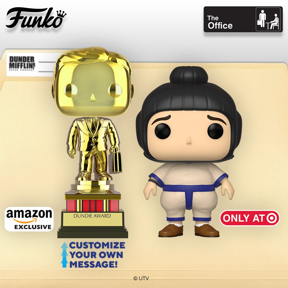 Coming soon: Pop! Television: The Office. The Dundie Award (Amazon exclusive: https://t.co/ApWohnqStd) and Andy in sumo suit Coming to Target this week!  Did you know you can personalize your Dundie award and write any name in dry erase or permanent marker? Pre-order yours now! https://t.co/wqC65xLGWB