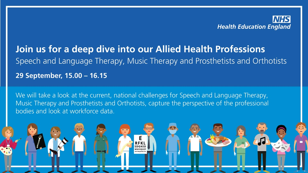 If you're interested in finding out more about Speech & Language Therapy, Music Therapy and Prosthetists & Orthotists join our webinar on 29 September for a deep dive ? Click the link to join at ??  https://t.co/38MLwLVy1e #AHP #SLT #MusicTherapy #Prosthetists #Orthotists https://t.co/rtr7bKQbUe