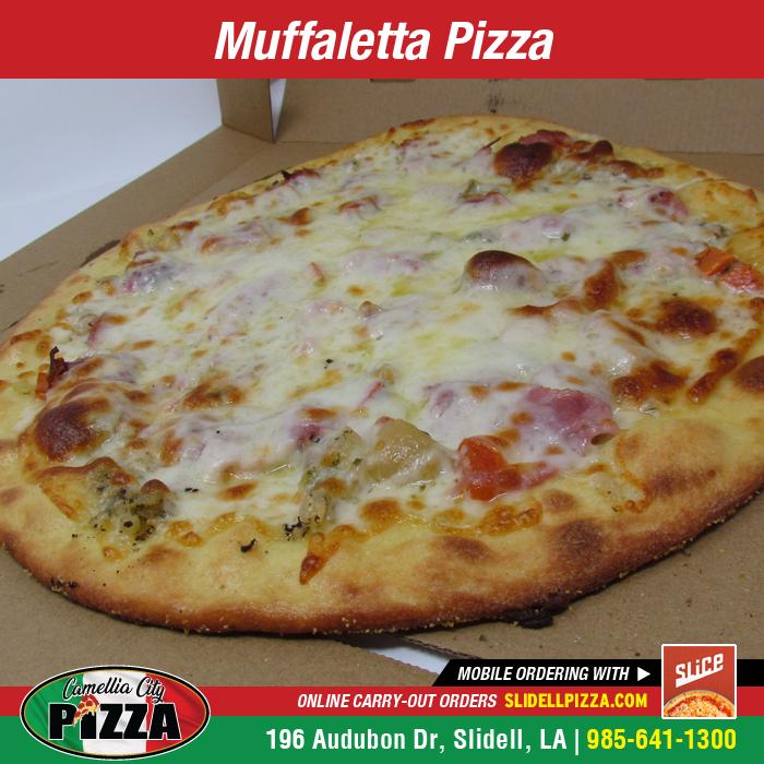 MUFFALETTA PIZZA - Fresh olive salad layered with slices of salami, ham, Swiss cheese, Provolone, and shredded mozzarella. CZ. 8.99 MD. 14.99 LG. 19.99 #CamelliaCityPizza #SlidellPizza #PizzaLover #PizzaTime #PizzaGram https://t.co/JQSiQRV40f