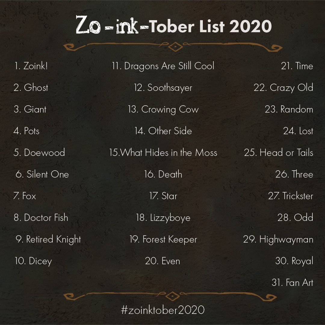 Join our artists as they take on our very own #inktober promt challange #zoinktober! Everyone is welcome to join and follow the list, on your own terms and in the medium of your choice!   Don't forget to tag us and #zoinktober2020 if you do 💜 https://t.co/ixZSqzCFMw