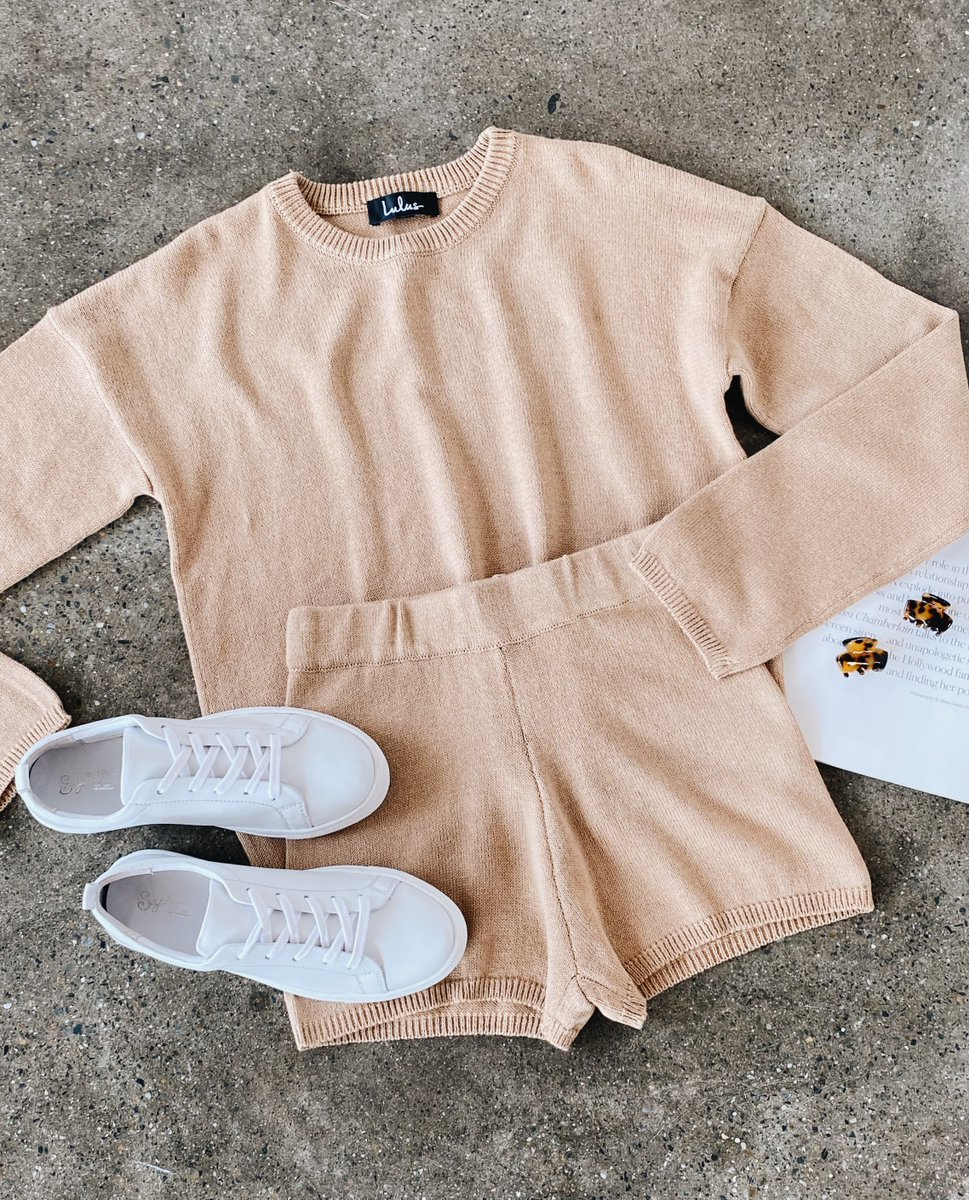 Comfort is key 💞 #lovelulus Shop loungewear for everyday including the Comfy Cozy tan knit sweater and matching shorts: https://t.co/Hr6iW0FyYB https://t.co/6iCmzbs9hD