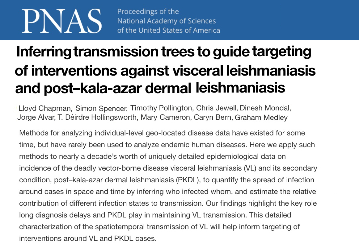 This seems like a big step forward for Leishmania epidemiology. We need more of these kinds of detailed data sets that allow sophisticated inference.