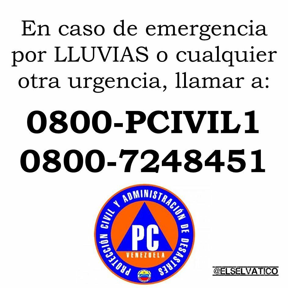 #ATENCIÓN: En caso de #Emergencia a causa de la #LLUVIA en Venezuela, pueden comunicarse al 0800-PCIVIL1 (08007248451) o al 911 #ProtecciónCivil #PrevenciónEsLaClave https://t.co/fdrfSdSuQ9