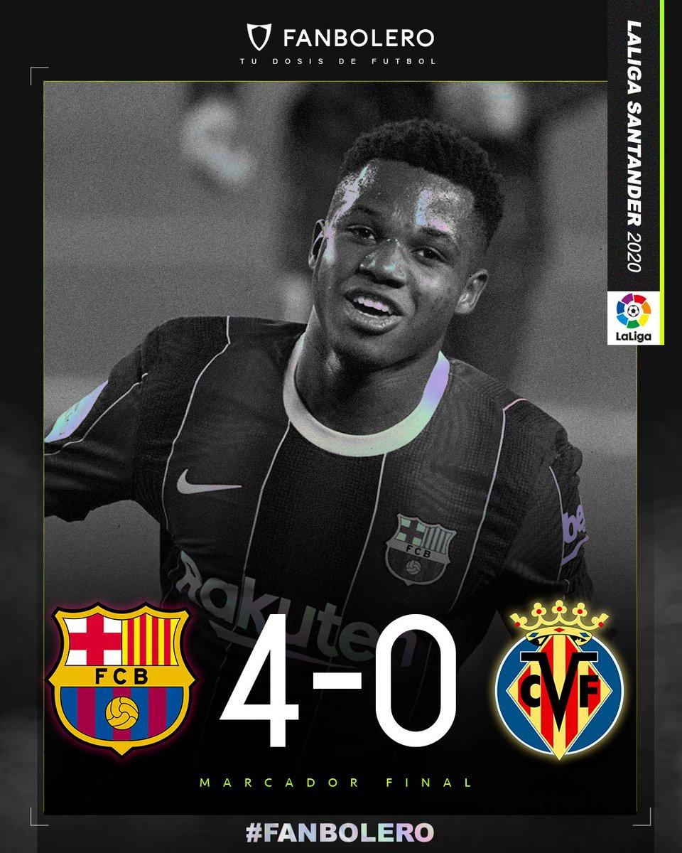 ¡TRIUNFO BLAUGRANA!  Con anotación de Messi, un autogol de Pau Torres y un doblete de Ansu Fati, el Barcelona arrolla al Villarreal en el Camp Nou 😱🏆🇪🇸  #BarcelonaVillareal #LaLiga #SoyFanbolero https://t.co/RjnZbI7a7E