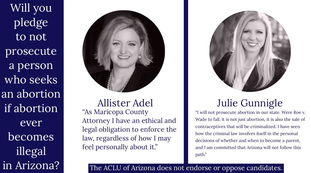 Reproductive Freedom is on the Ballot this November. If Roe v. Wade is overturned, abortion could become illegal in Arizona. Read our candidate questionnaires at https://t.co/pu25pXfoGN to learn more about county attorney candidates' positions on key civil liberties issues. https://t.co/hiWDT5LBYK
