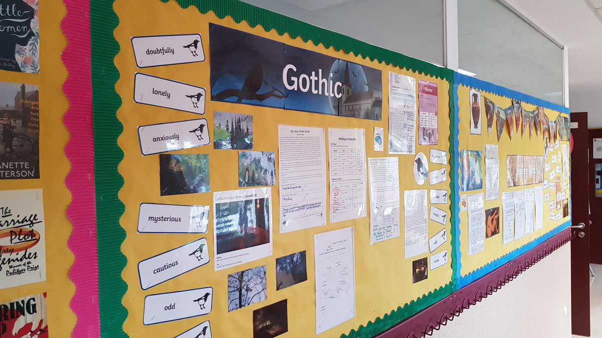 Love a good display! Lots of great this happening in our department this term! #teamenglish #edutwitter #justwrite #creative https://t.co/W364NOoZV6