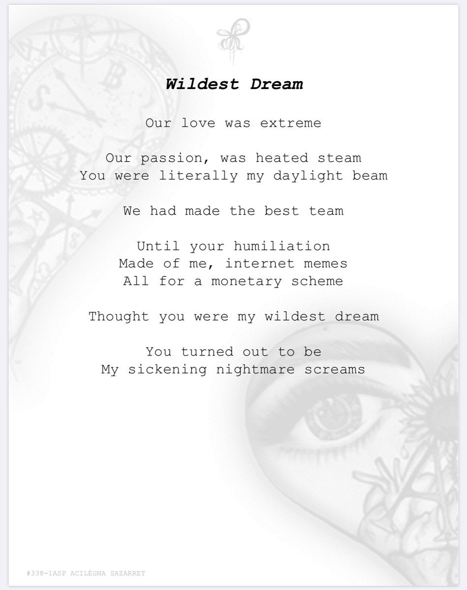 WILDEST DREAM 338-1 #poems #lovepoem #poem #poetry #author #poet #poetic #poetryisnotdead #poetrylovers #poetrycorner #PoetsTwitter #poemoftheday #writerslife #Writers #writinglife #PoetryPrompt  #Dreamcatcher #acilegnasazarretpoetry https://t.co/TagQfCflVy