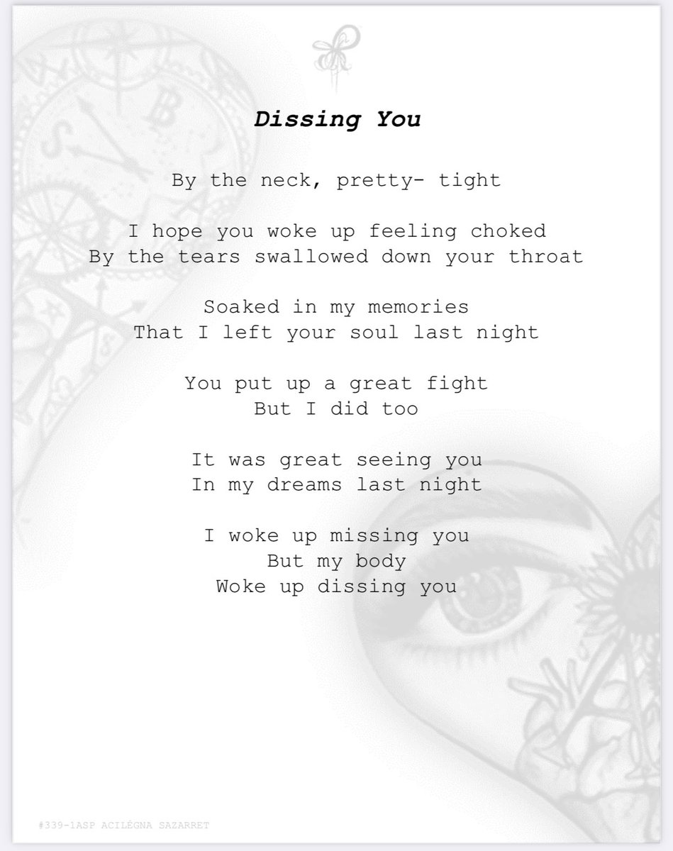 DISSING YOU 339-1 #poems #lovepoem #poem #poetry #author #poet #poetic #poetryisnotdead #poetrylovers #poetrycorner #PoetsTwitter #poemoftheday #writerslife #Writers #writinglife #PoetryPrompt  #Dreamcatcher #acilegnasazarretpoetry https://t.co/15XL71dei2