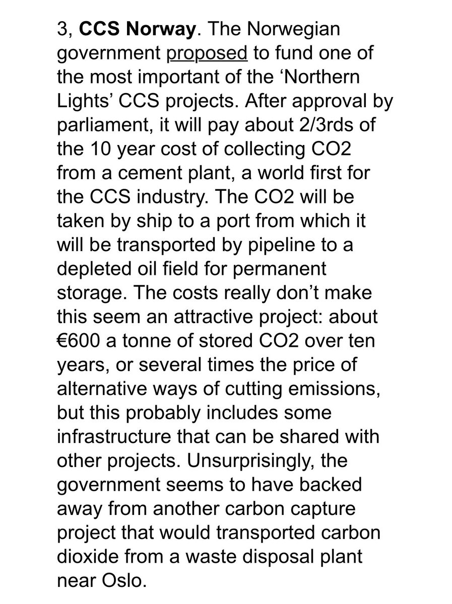 """What is the true price of #CO2? 🤔   €180/t?  Well, if """"the market"""" is any indication in the real world 🌎 the current price for storing #carbon just for 10 years is north of €600! #CCS   Via Carbon Commentary newsletter: https://t.co/aNUlwV6V1Y https://t.co/XKAIGMZjRf"""