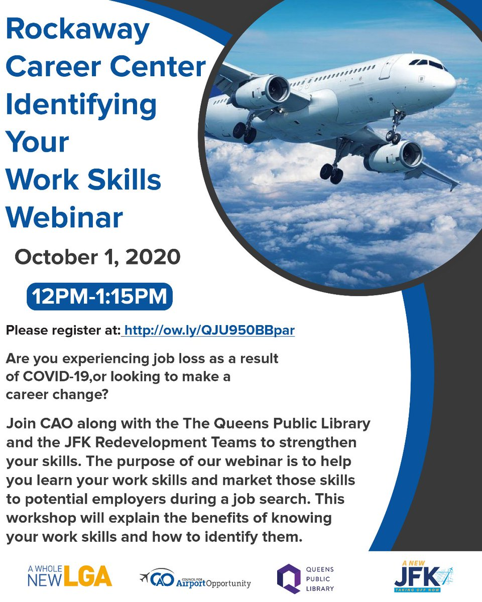 RSVP to CAO's Identifying Your Work Skills Webinar! This workshop will explain the benefits of knowing your work skills and how to identify them.  RSVP here: https://t.co/8P3XwHjsz3  #airline #airport #airplane #aviation #jobs #wkdev #Dogood #change #career https://t.co/zlYJzs3GuI