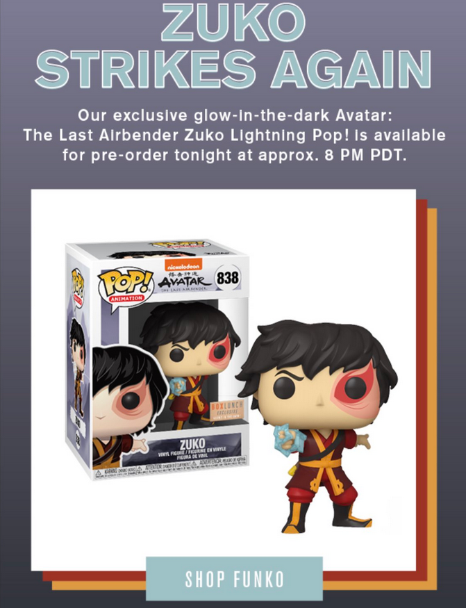 Box Lunch exclusive GITD Zuko will be available to pre-order tonight around 8 pm PT. https://t.co/y7a9vqU3AL