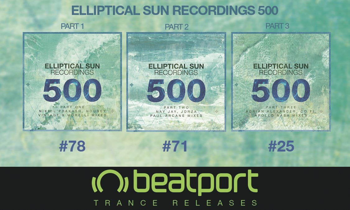 The buzz around #ESR500 is still going strong. All 3 of our remix EPs are in the @beatport Top 100 #Trance Releases! Thanks for your support. https://t.co/H103nuTtxQ