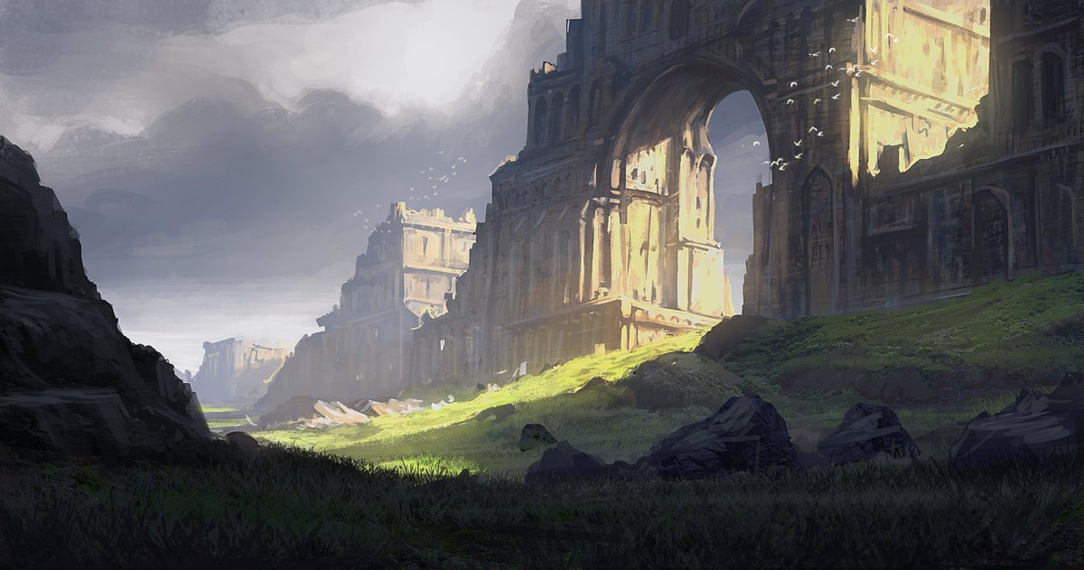 No one knows who built the miles long wall of arches but all races used this as shelter supported by farms below,trade along the wall, & water carried in aqueduct above,but now wall is crumbling  #dnd #rpg #rpgHook Arch Ruins by edwardbarons on @DeviantArt https://t.co/WTwHJh56VK https://t.co/rz28pt0Z6D