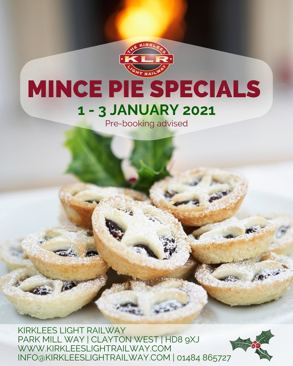 Not that we're wishing to see the back of 2020 or anything (ok, who are we kidding?!), but we are looking forward to our MINCE PIE SPECIALS which will be taking place on 1-3 Jan 2021!  For details or to book tickets, please visit: https://t.co/JleodvOQvV.  #Yorkshire #Christmas https://t.co/oXIisElLSo