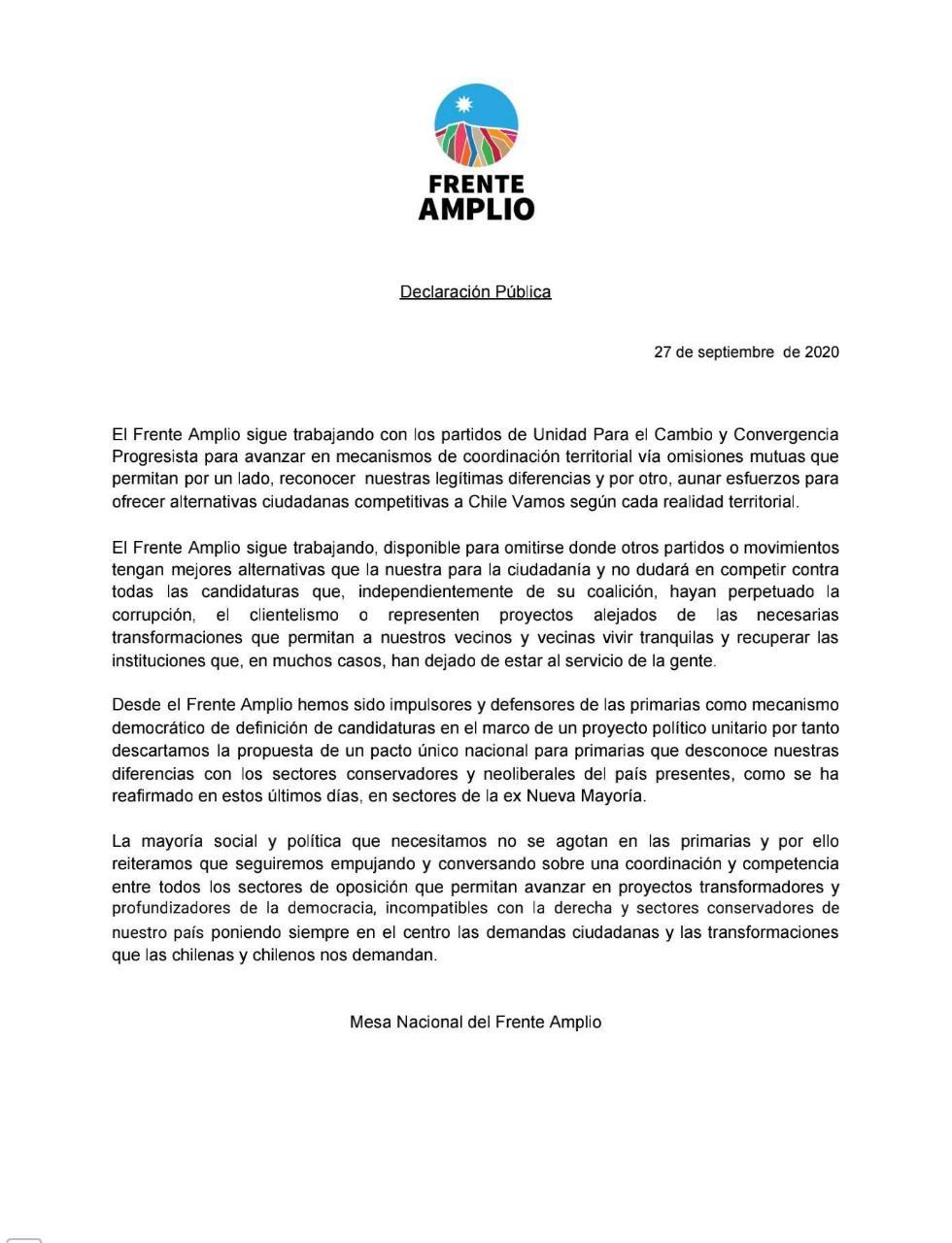 Declaración Frente Amplio - NO Primarias ge