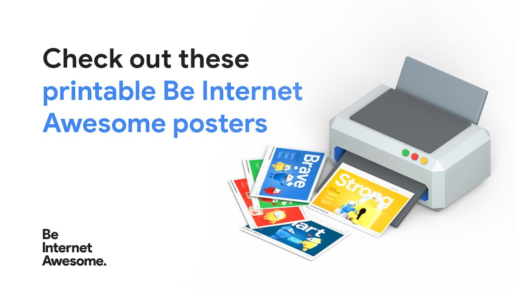 Your students can deck out their at-home learning environments with these printable #BeInternetAwesome posters to remind them to be smart, brave, alert, kind, and strong on the internet. Take a look: https://t.co/W7WSoQHzox. #digcit https://t.co/ztYcLLUAvZ