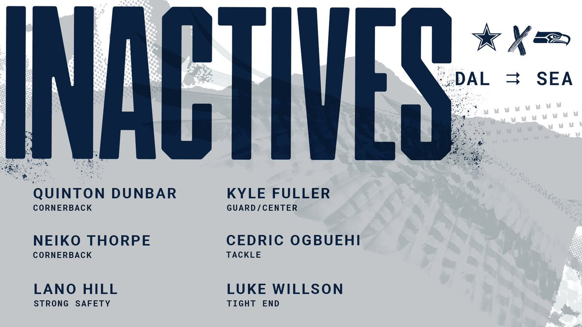 Today's @Seahawks inactives: