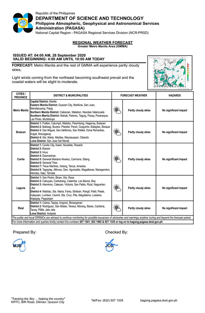 REGIONAL WEATHER FORECAST for GREATER METRO MANILA AREA (GMMA) #NCR_PRSD Issued at: 4:00 AM, 28 September 2020 Valid Beginning: 4:00 AM - 10:00 AM today  https://t.co/fiReKijVAd https://t.co/nNNLja6QQD