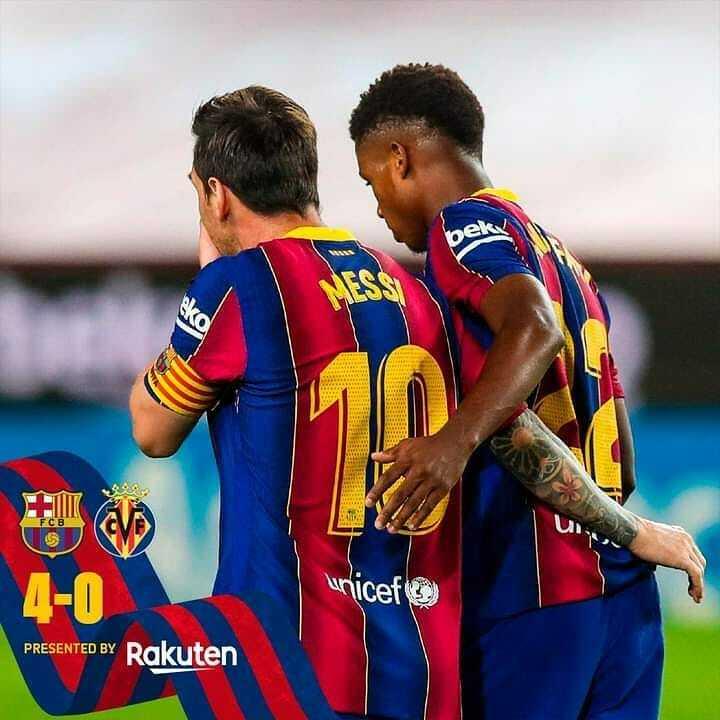Full time score Barcelona 4-0 Villareal  #Schizo  #footballgames #footballedits #football #footballvideos #footballtraining #footballmemes #dumbfootballReviews #footballhighlights  #Messi🗣  #lionelmessi  #Ronaldofans  #messifans  #messigoals  #lm10 #CR7 #cristianoronaldo #Ro… https://t.co/dUPQFrN8xD