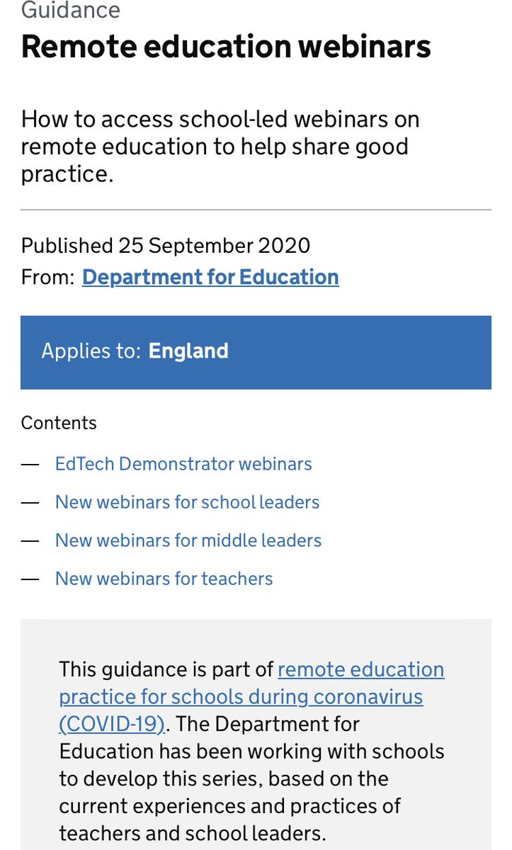 I know it's late, and I've probably lost the plot... but just just looking at @educationgovuk's guidance and webinars on #remotelearning and it appears there is nothing for special schools??? Can you point me in the right direction. Surely we haven't been forgotten again? #SEND https://t.co/Znq9cBf2wS