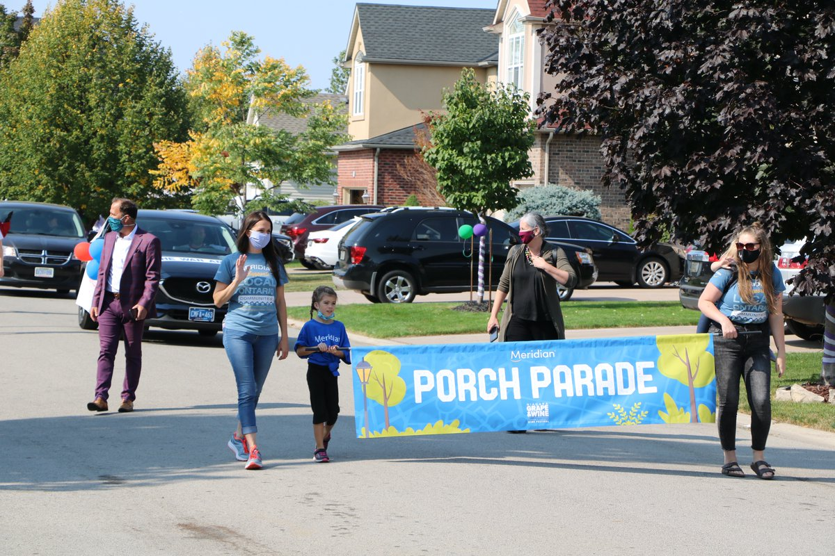 Congrats to our partners at The Niagara Grape & Wine Festival Saturday for a successful, safe, 2020 Meridian Porch Parade through various neighbourhoods in St. Catharines! See highlights on our website: https://t.co/16TeKVmxNj #trulylocal @WSendzik #community #parade #GabbyGrape https://t.co/Mdrw7N5Gba