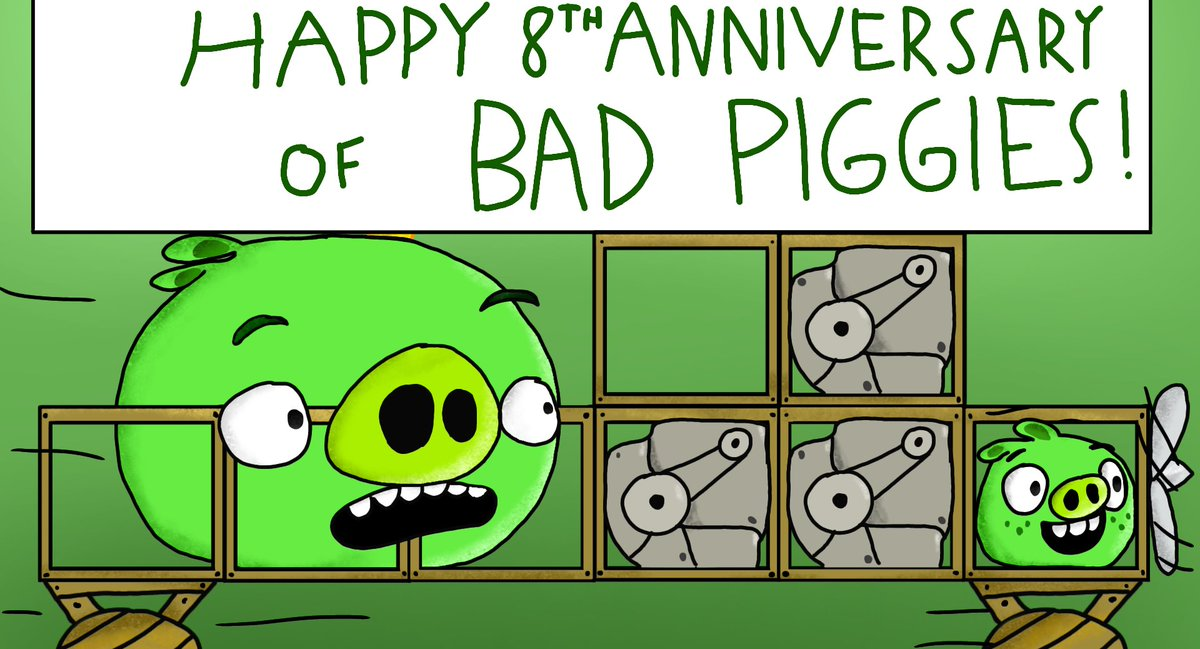 Happy 8th Anniversary of #BadPiggies!! my childhood!!😍😍  #AngryBirds #AngryBirdsFanart @BadPiggies @AngryBirds https://t.co/IPm0Uxburu