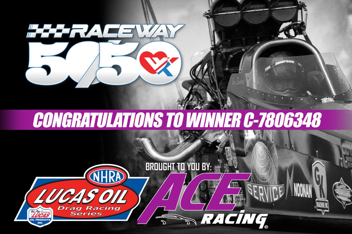 Congratulations to the Raceway 50/50 winner drawn at the Lucas Oil Doubleheader. You won $1,060!  Email us your winning ticket at info@raceway5050.org.  Get ready for the biggest raffle yet at the MOPAR Express Lane NHRA Midwest Nationals this coming weekend October 2-4! https://t.co/nGcLjXT3xR