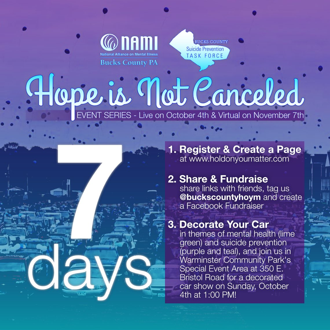 Only 1 more week! Register at https://t.co/1smRRvwHtM and donate to aid suicide prevention in Bucks County! Let's show that #HopeIsNotCanceled in Bucks County! #buckscountypa  #holdonyoumatter #hope #mentalhealth #suicideprevention #suicideawareness #decoratedcarshow #parade https://t.co/ssfOGcXGUn