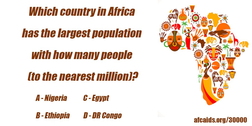 Which country in Africa has the largest population with how many people (to the nearest million)? Reply&Retweet. The answerwill be posted tomorrow at 3pm EST. Signup to virtual walk through Africa! https://t.co/Q8v2IXMBX2 #LoveWell #BeKind #DoGood #30000Miles #AfricaQuiz https://t.co/Gj2vPZRp9u
