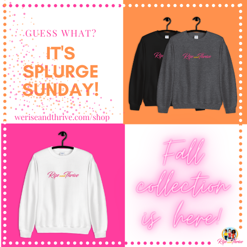 It's #SplurgeSunday ✨  Purchasing one of our comfy #crewnecks not only benefits you this fall and winter season, but it supports the mission and vision of Rise and Thrive Inc. and allows more young ladies to have access to multifaceted #mentorship!  https://t.co/TRO4o5lRVC https://t.co/oHjK9issOO