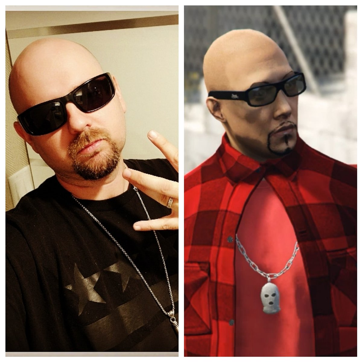"""The real @locdasmoke on the left & my #game character in the right! If you play #GTA Online on #PS4, add me, my gamer tag on #PSN is locdasmoke! Also there's a new #video for my song """"Ryde 4 Lyfe"""" so check it out, hit the like & leave a comment  https://t.co/tjGasdSJ2T   Thanks! https://t.co/ece7Hf6RKH"""