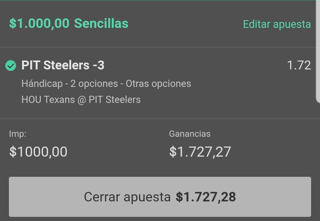 Booooooooomm another winner for the Vip 🔥 🔥 🔥 🔥  NFL 🏈 cuando le sabes al negocio, sabes a quien debes apostar 😎  Steelers - 3 😎😎💰💰 https://t.co/8e0YfMaLSx