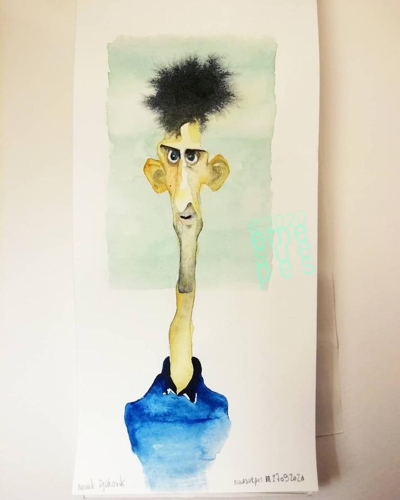 https://t.co/vGMLNhNqBD Ese pelo ha tomado su propio camino #NovakDjokovik #2020 #cuarentena #coronaviruschallenge #caricature #portrait #watercolor #illustration #caricatura #acuarela #nole https://t.co/pLjJggxwuL