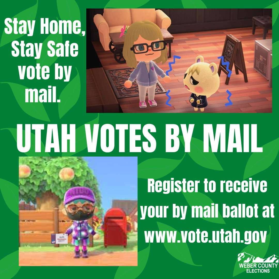 Utah votes by mail, are you registered? Check or update your registration at https://t.co/3OW4rYjHRf  #acnhcommunity #animalcrossing #stayhome #staysafe #WEPrepare #weberelections #webercounty #Utahvotesbymail #votebymail #2020elections #utahelections #ACNH #wildcats #vote #weber https://t.co/f1cVhEmTFF