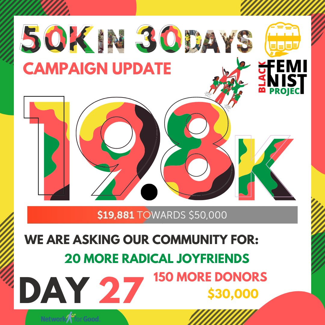 ONLY 3 DAYS LEFT YALL!  We need everyone who hasn't contributed to the 50KIN30DAYS campaign yet to SHOW OUT these last 3 days!   #afcc #nonprofit #dogood #donate #giveback #socialgood #volunteer #causes #fundraiser #change #activism #support #donation #theblackfeminisdtproject https://t.co/o9OLYdyGj8