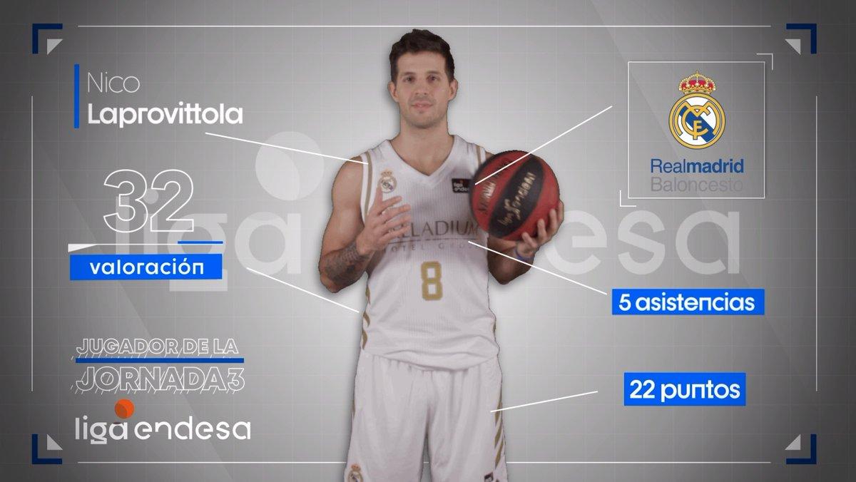 🙌 @nicolapro7, jugador de la jornada 3 de la @ACBCOM.  👏 ¡Enhorabuena, Nico!  #HalaMadrid | #LigaEndesa ➕ INFO: https://t.co/QvsCkAhVzR https://t.co/nCRf3QAUJX