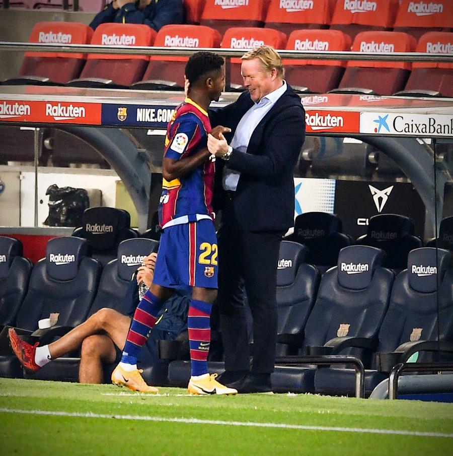 Fati and Koeman in Barcelona vs Villarreal