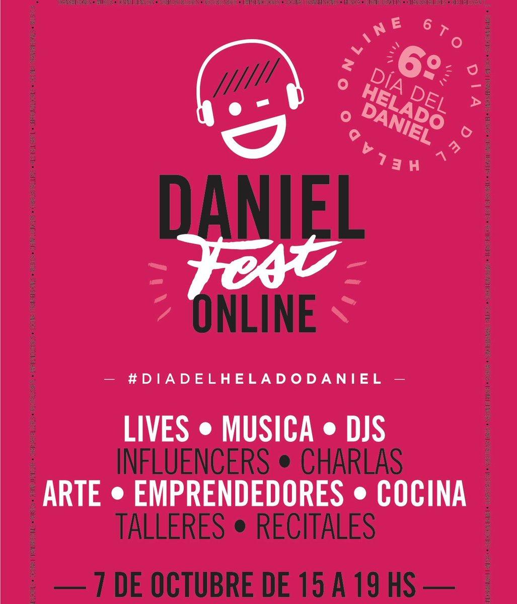#DanielFest 🥳 Celebremos juntos el 6to #DiaDelHeladoDaniel🍦Este año nos encontramos de forma virtual para compartir música, talleres, recitales, charlas, cocina y mucho más.  Registraté https://t.co/GqonfDpR8w https://t.co/sumQMKYAfy