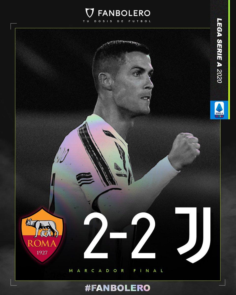 ¡RESCATAN EL EMPATE!  A pesar de sufrir la expulsión de Rabiot, la Juventus divide puntos con la Roma gracias a un doblete de Cristiano Ronaldo 😮🏆🇮🇹🇵🇹  #RomaJuve #SerieA #SoyFanbolero https://t.co/NsOfxO7x90