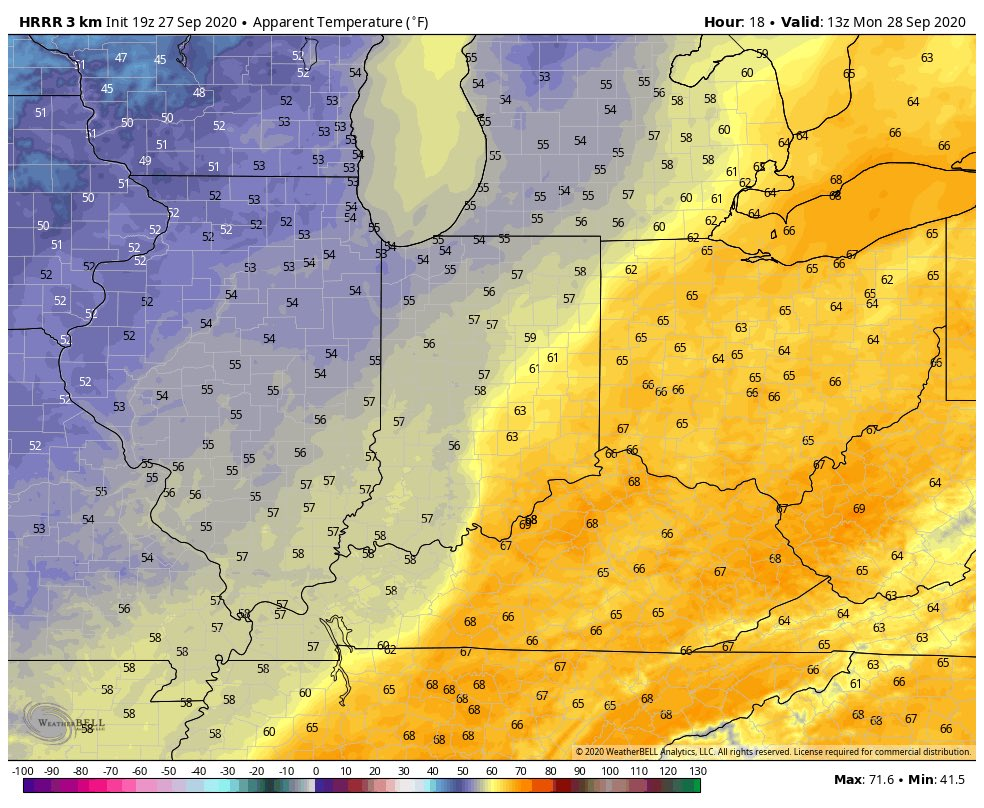 Changes are brewing: A cold front will march across #INwx overnight. Our weather takes a much cooler, wetter turn to open the work week. #Indy #AGwx https://t.co/FIHkbMNmGh