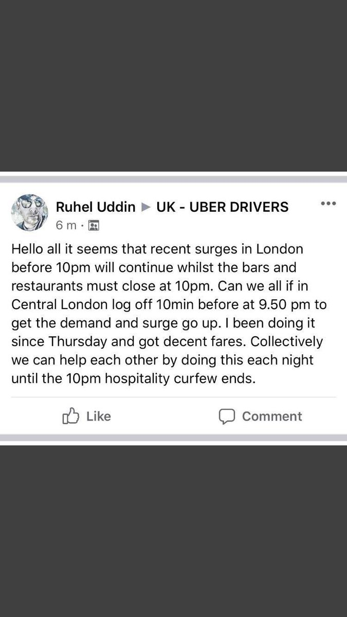 This will explain why you're UBBER ride has been more expensive in recent weeks,, you can of course choose a licensed London taxi where our fare is regulated by TFL,, most taxis take 5 people with some taking 6 in a sealed environment away from the driver we all take credit cards https://t.co/2TZJ7Db6ng