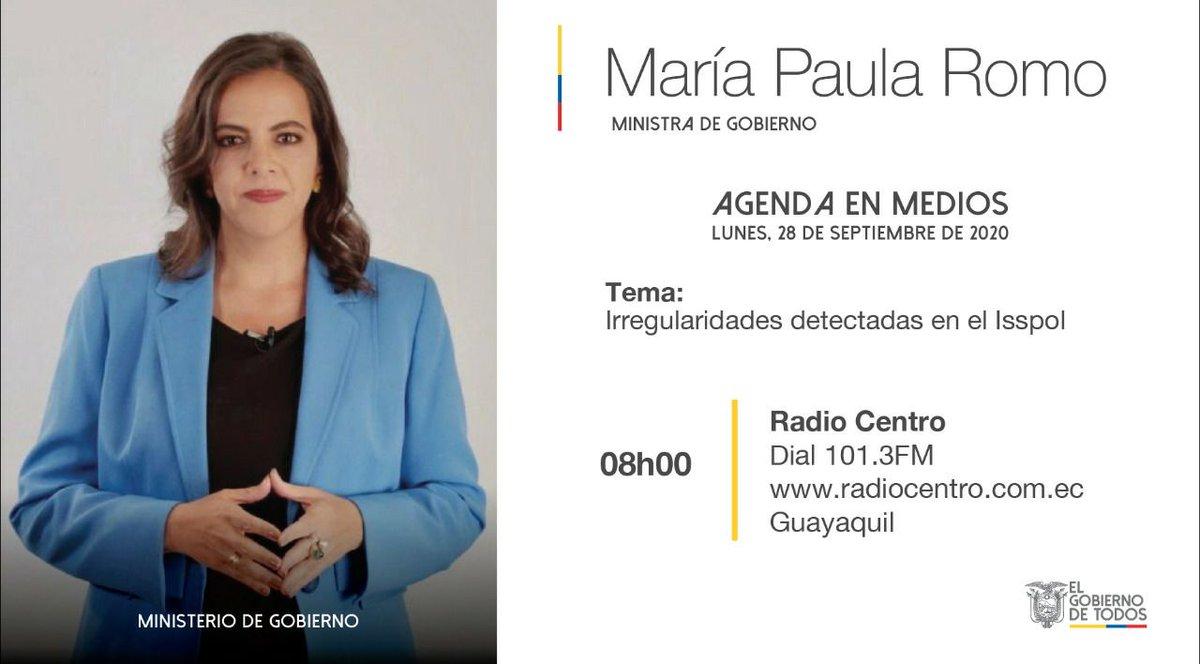 #EnLosMedios📻🎙️💻| Este lunes, a través de @radiocentroec 101.3fm en #Guayaquil, escuche el diálogo que la ministra @mariapaularomo sostendrá con @jxbenedeti y @pochoharbEC, durante el cual analizarán las irregularidades detectadas en el #Isspol.  Detalles de la entrevista⤵️ https://t.co/7vEMdda0md