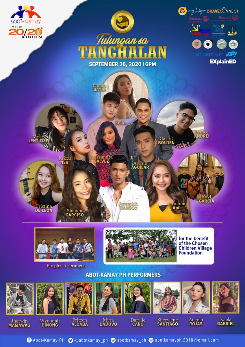 "Let's watch and help!   Catch the performances of talented artists in ""Tulungan sa Tanghalan"" on October 3, 2020 at 6:00 PM to 9:00 PM through Abot-Kamay PH FB page.    This online fundraising show is for the benefit of the Chosen Children Village Foundation.  #AbotKamayPH https://t.co/J7nOeKUXUY"