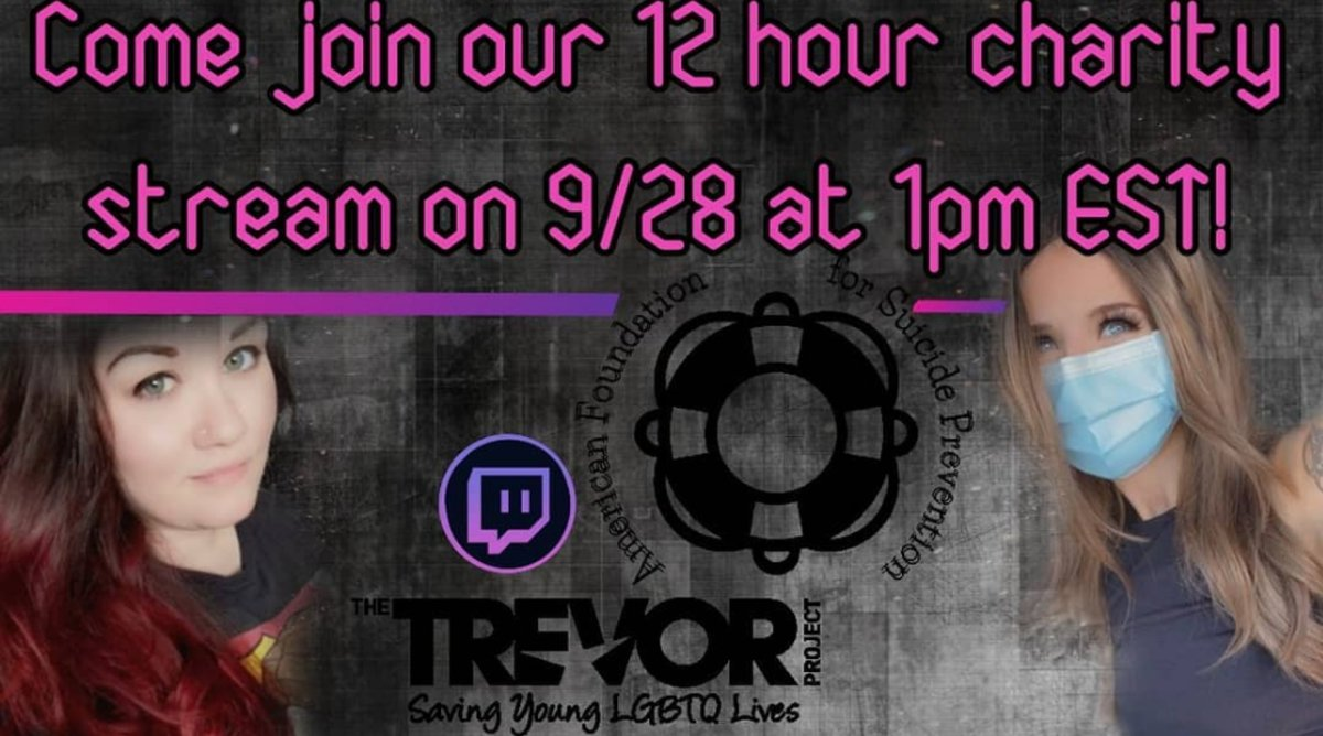 Tomorrow is the day!! Join @streamermrslace and I for our 12 hour #charity stream at 1pm EST!   All donations will go to #thetrevorproject and a link will be posted if you'd like to donate off-stream. Come support!  https://t.co/4DxwTQzWEN https://t.co/W0TPWid7XL https://t.co/INcNLGkfzn