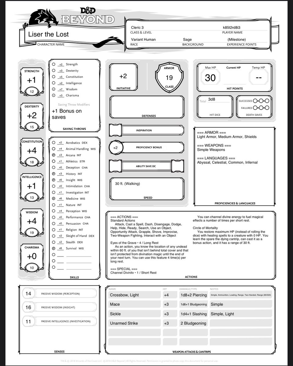 What do you think of my level 3 cleric? #DnD #dnd5e #dungeonsanddragons https://t.co/cj6Jih7x1E